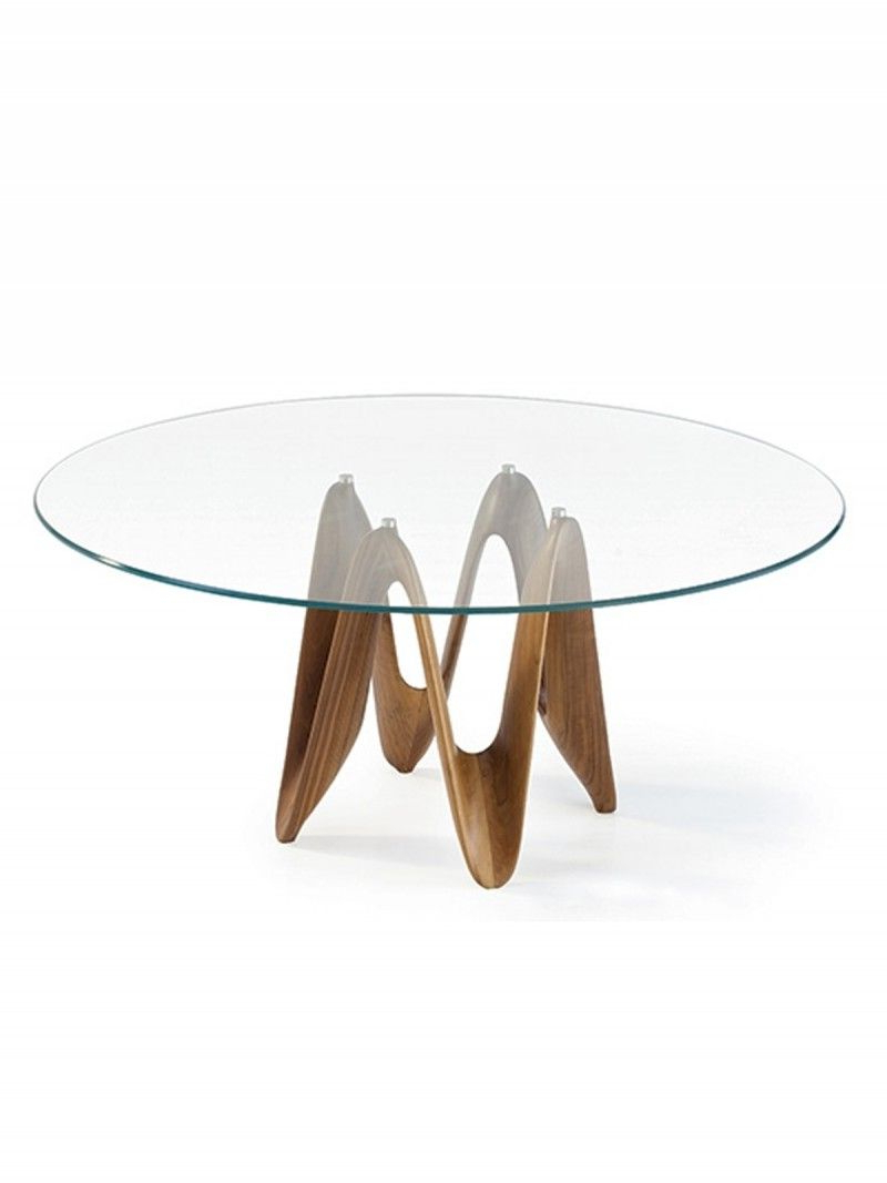 Lambda Glass Dining Table – Transparent Glass Top With Solid Wood With Regard To Elke Glass Console Tables With Polished Aluminum Base (View 10 of 20)