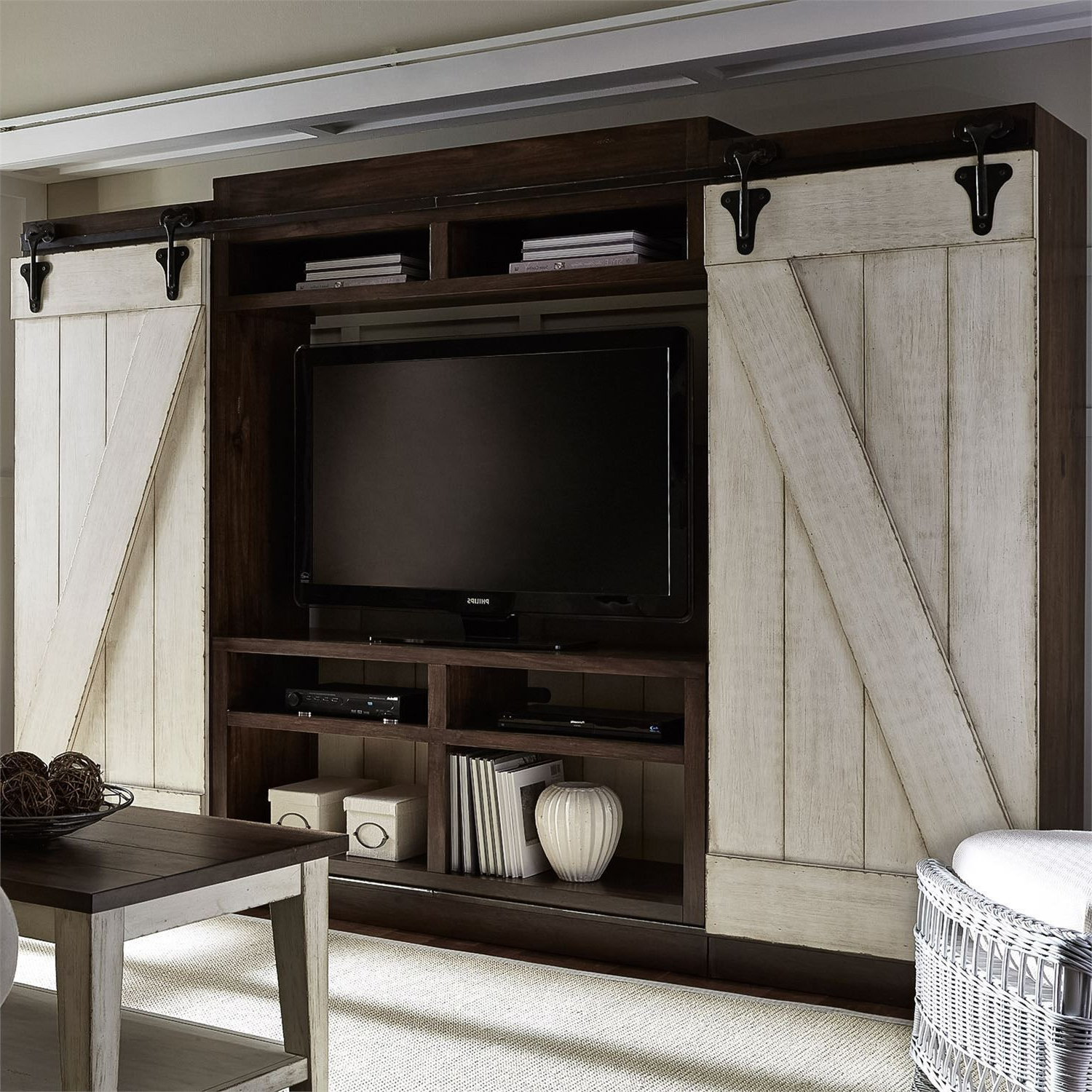 Lancaster Antique White And Brown Entertainment Wall Unit From With Regard To Abbott Driftwood 60 Inch Tv Stands (Gallery 16 of 20)