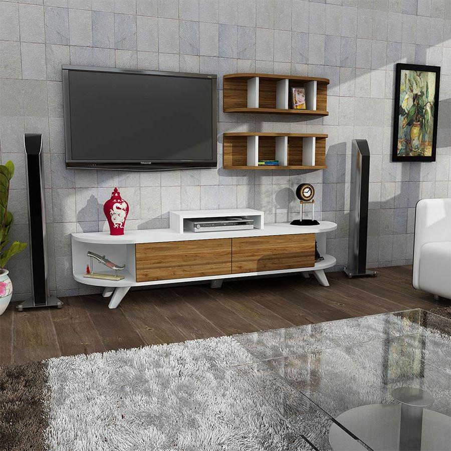 Lara Tv Ünitesi Duvar Ünitesi | Beyaz Ceviz | Koçtaş For Ducar 64 Inch Tv Stands (View 9 of 20)