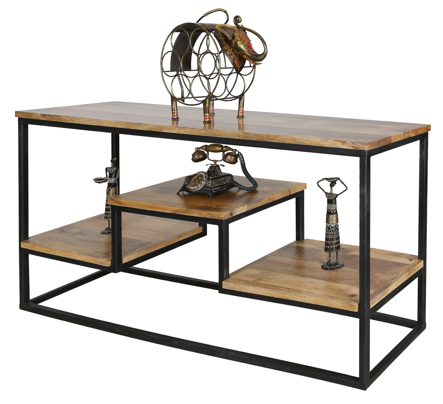 Large Industrial Style Light Mango Wood Console Table With Metal Frame Within Frame Console Tables (View 3 of 20)