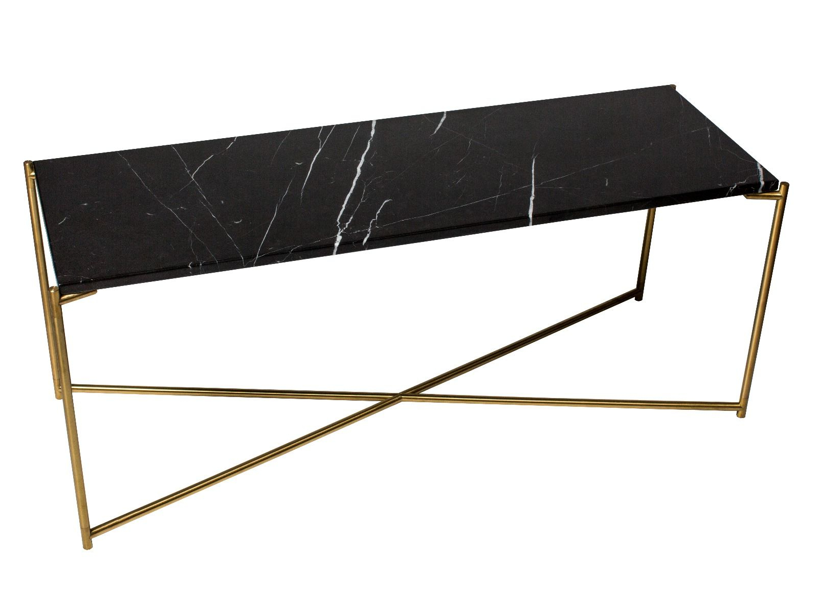 Large Low Console Table Black Marble With Brass Frame | Collection Pertaining To Frame Console Tables (View 14 of 20)