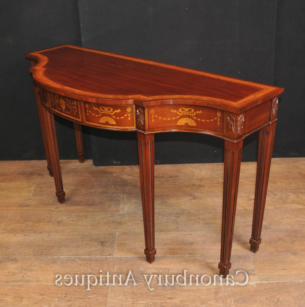 Large Regency Breakfront Console Table In Mahogany Inlay Sheraton Regarding Orange Inlay Console Tables (View 16 of 20)