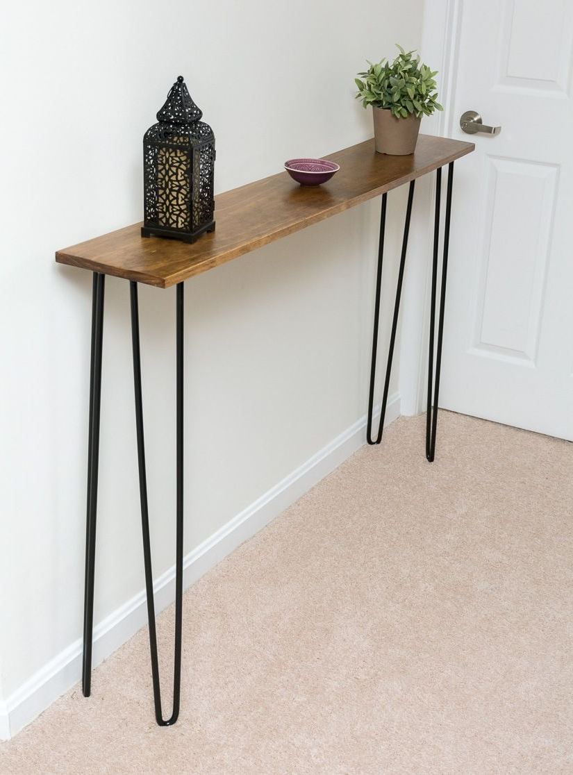 Leftover Pine Diy Hairpin Leg Console Table | Furniture Diy Within Yukon Natural Console Tables (View 7 of 20)