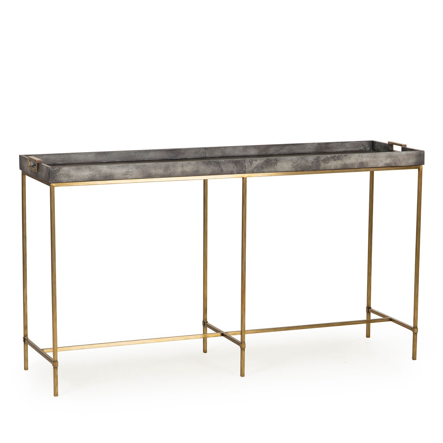Levi Tray Console Table – Grey Shagreen | Resource Decor 0801086 Inside Grey Shagreen Media Console Tables (View 7 of 20)