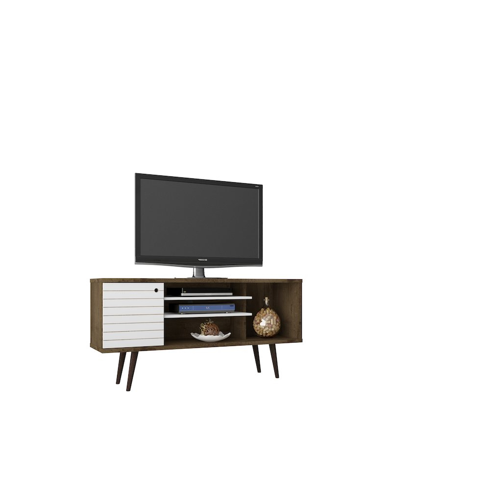 "Liberty 53.14"" Mid Century – Modern Tv Stand With 5 Shelves And 1 For Rowan 74 Inch Tv Stands (Gallery 9 of 20)"