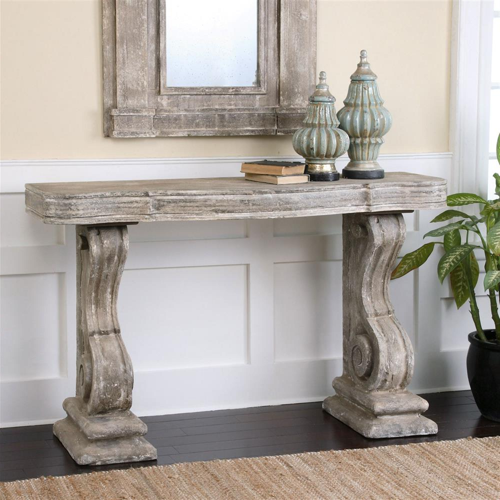 Lisette French Country Antique Grey Stone Carved Console Table Throughout Antique White Distressed Console Tables (View 11 of 20)