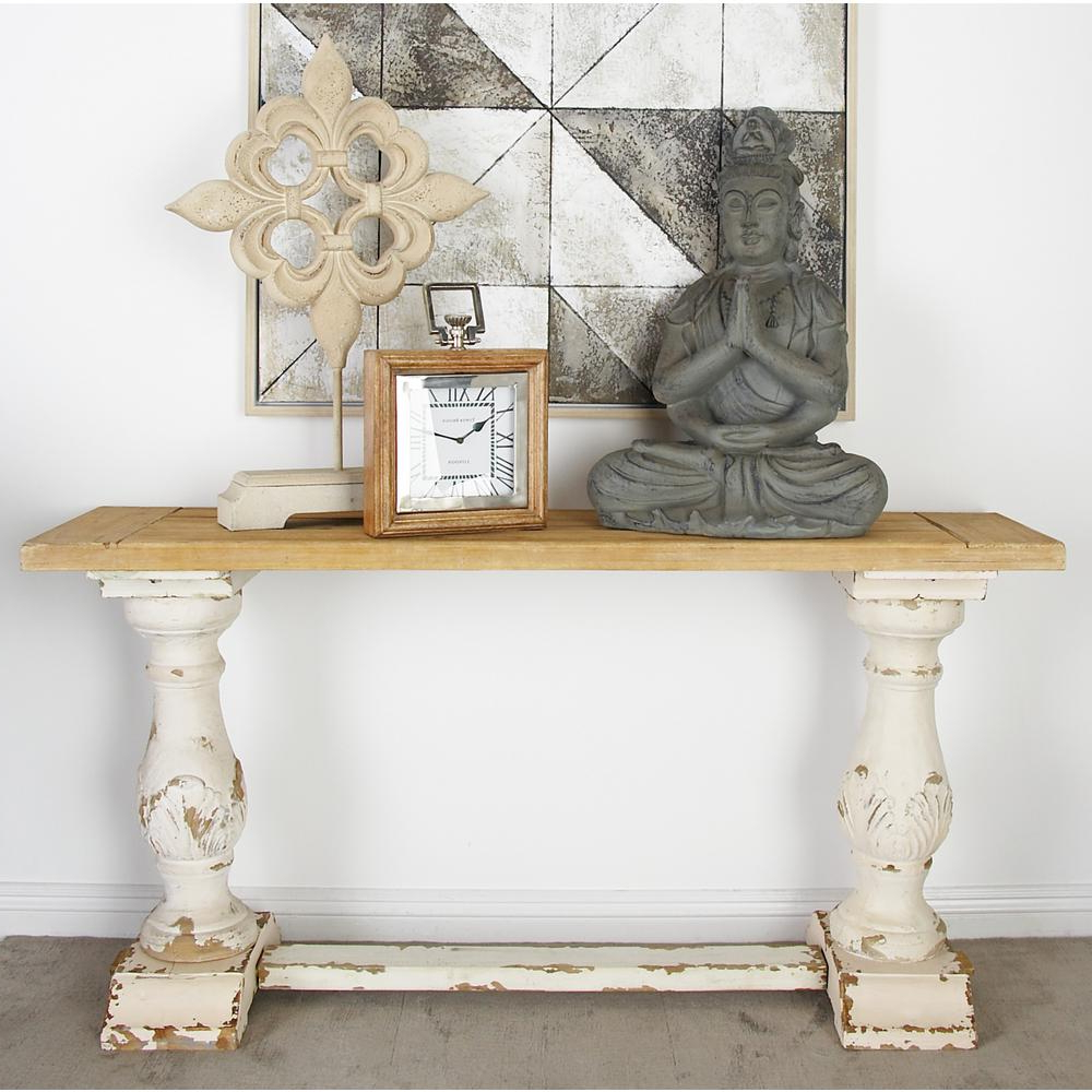 Litton Lane Distressed White Console Table 14840 – The Home Depot Intended For Antique White Distressed Console Tables (View 12 of 20)