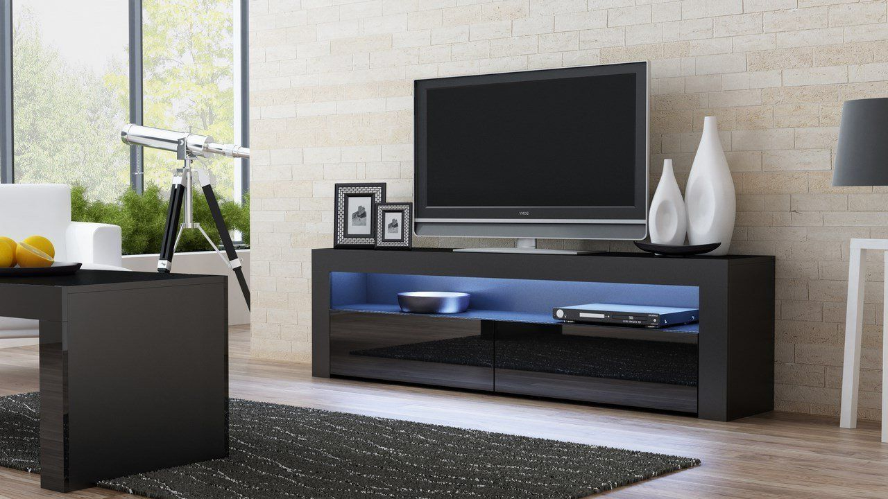 Living Room Designs Ideas With Tv Console Milano Classic Black – Tv Within Valencia 70 Inch Tv Stands (View 14 of 20)