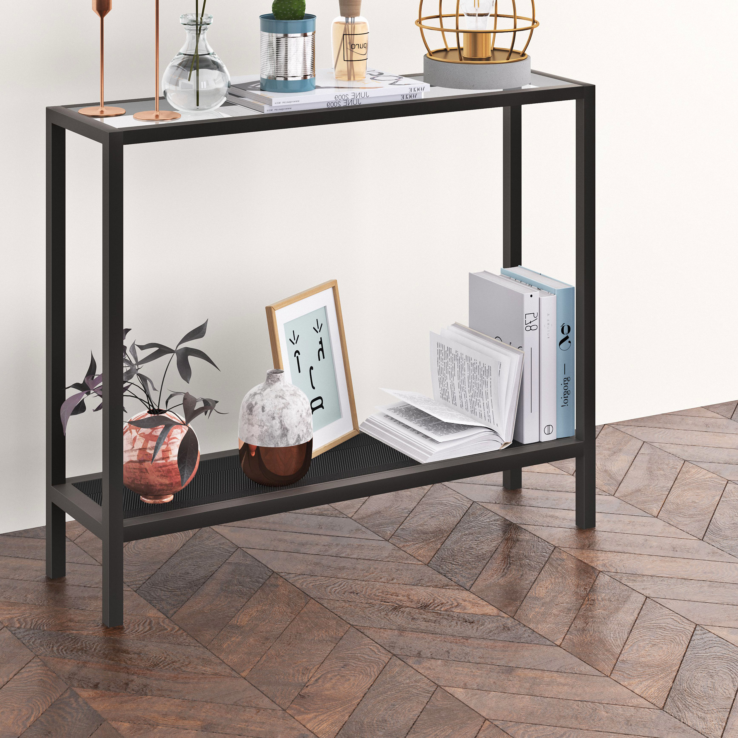 Long Behind Sofa Console Table | Wayfair Pertaining To Mix Agate Metal Frame Console Tables (Gallery 14 of 20)