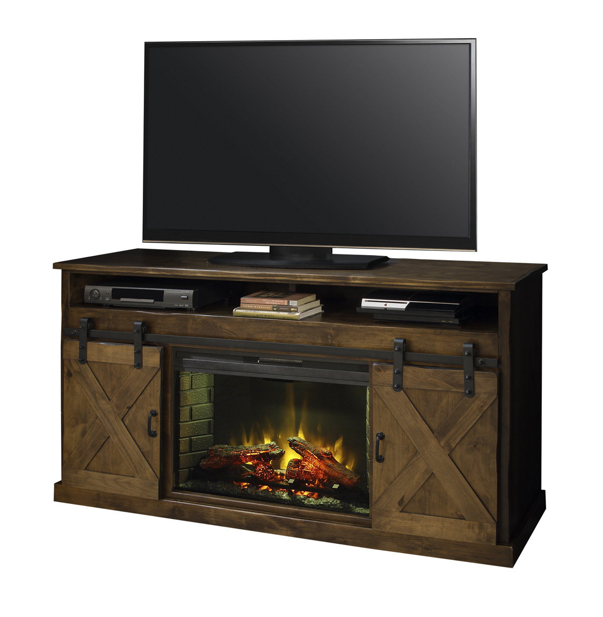 """Loon Peak Pullman Tv Stand For Tvs Up To 65"""" With Electric Fireplace Within Vista 60 Inch Tv Stands (View 12 of 20)"""