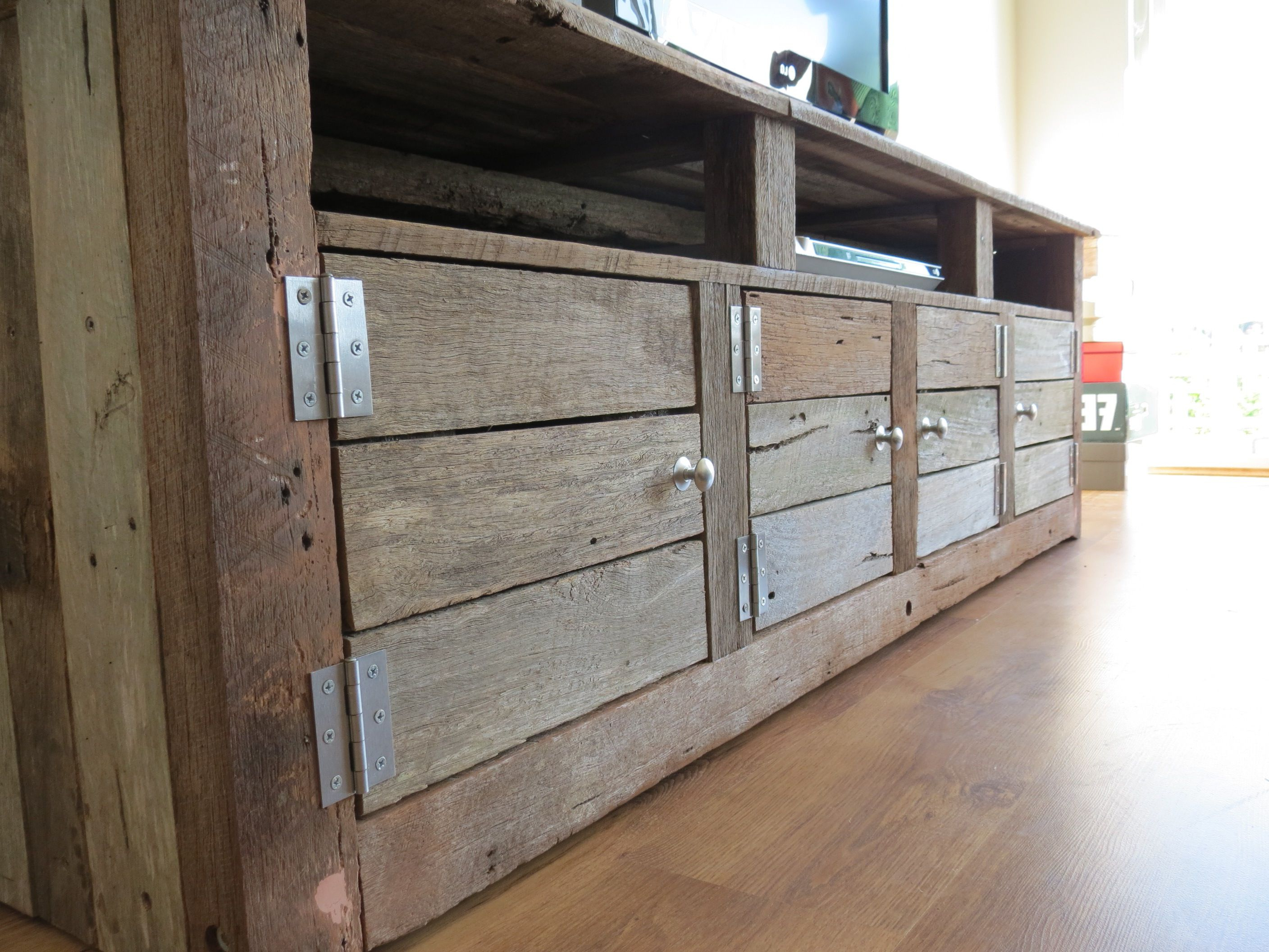 Low Line Tv Unit Made From Recycled Timber | New Home Sweet Home Inside Kilian Black 74 Inch Tv Stands (View 5 of 20)