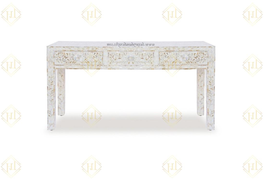 Luxury Handicrafts | White Mother Of Pearl Inlay Floral 3 Drawer With Black And White Inlay Console Tables (View 14 of 20)