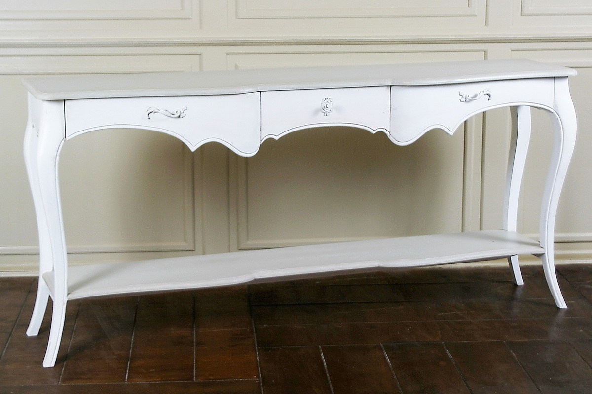 Lyon French Carved Console / Hall Table | French Console Table For Antique White Distressed Console Tables (View 13 of 20)