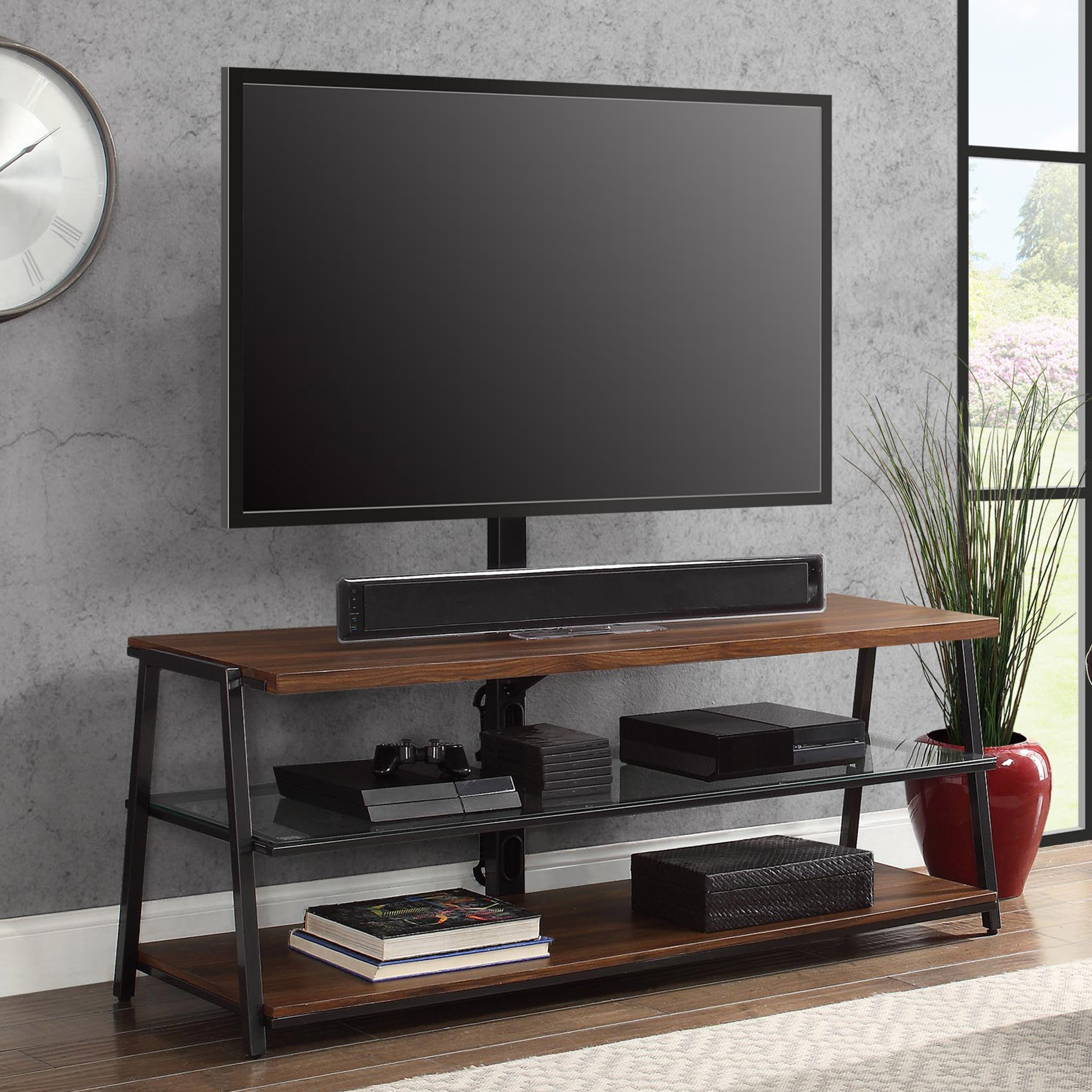 "Mainstays Arris 3 In 1 Tv Stand For Televisions Up To 70"", Perfect In Canyon 74 Inch Tv Stands (View 10 of 20)"