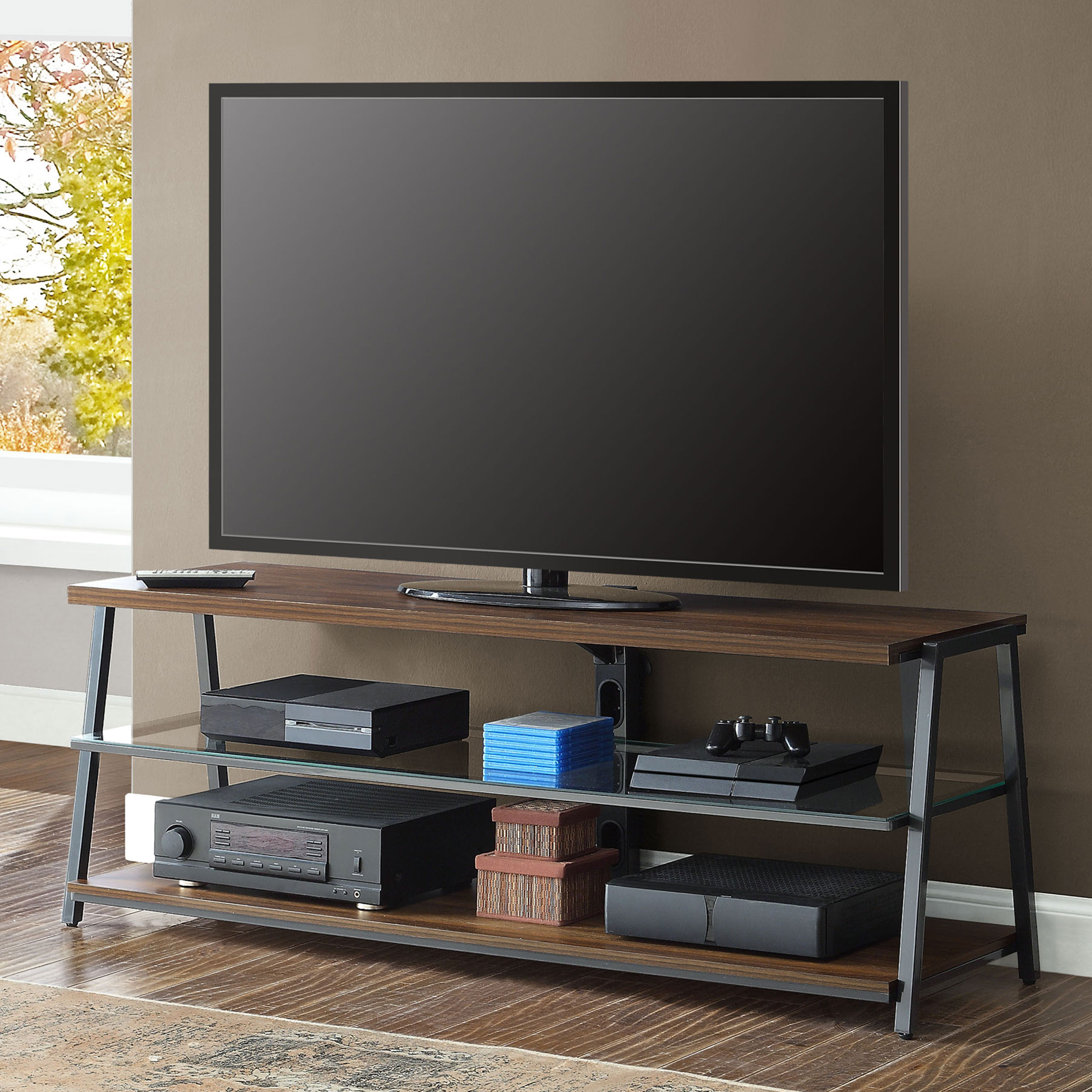 "Mainstays Arris Tv Stand For 70"" Flat Panel Tvs Up To 135 Lbs Throughout Canyon 64 Inch Tv Stands (View 9 of 20)"