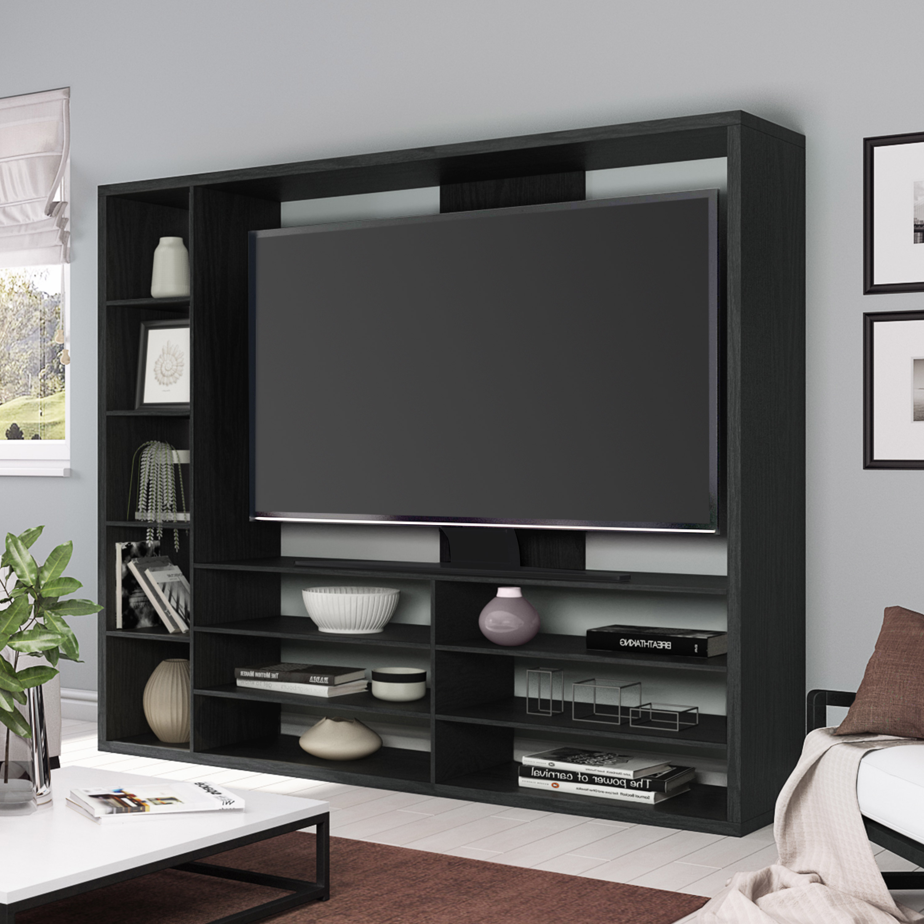 "Mainstays Entertainment Center For Tvs Up To 55"", Ideal Tv Stand For Pertaining To Canyon 64 Inch Tv Stands (View 10 of 20)"