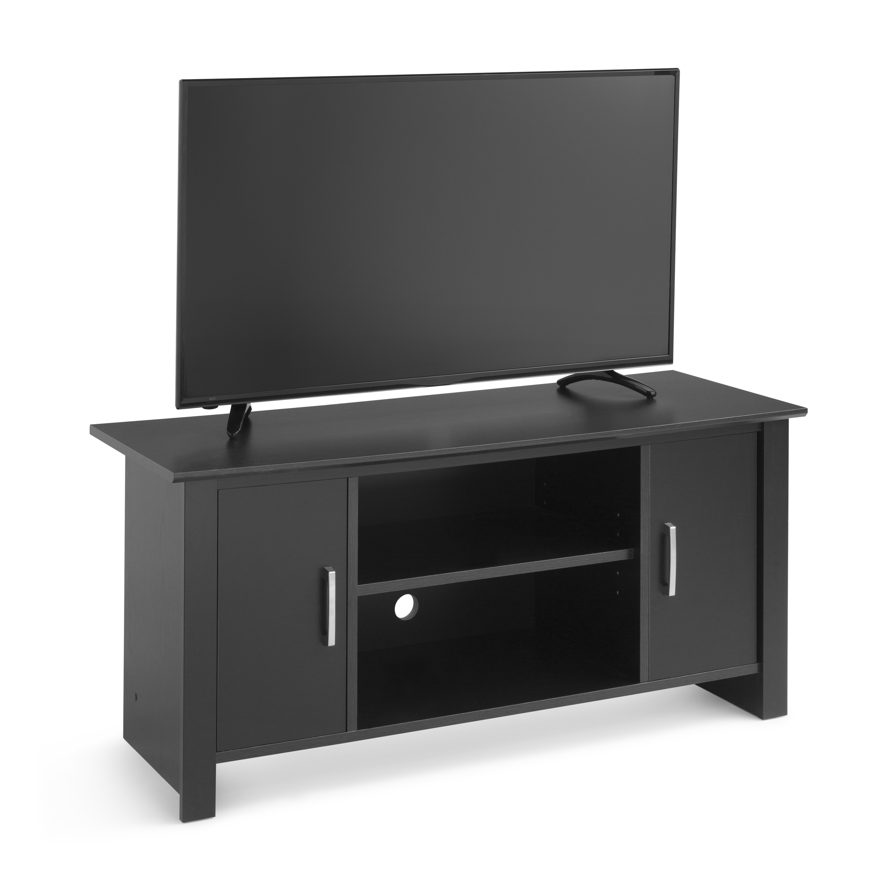 "Mainstays Tv Stand For Flat Screen Tvs Up To 47"", True Black Oak With Regard To Canyon 54 Inch Tv Stands (View 8 of 20)"