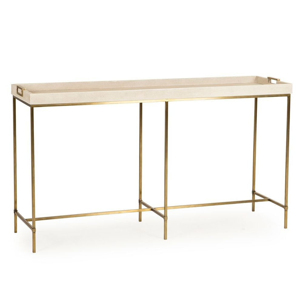Maison 55resource Decor Lexi Tray Console Table Ivory Faux Regarding Faux Shagreen Console Tables (View 5 of 20)