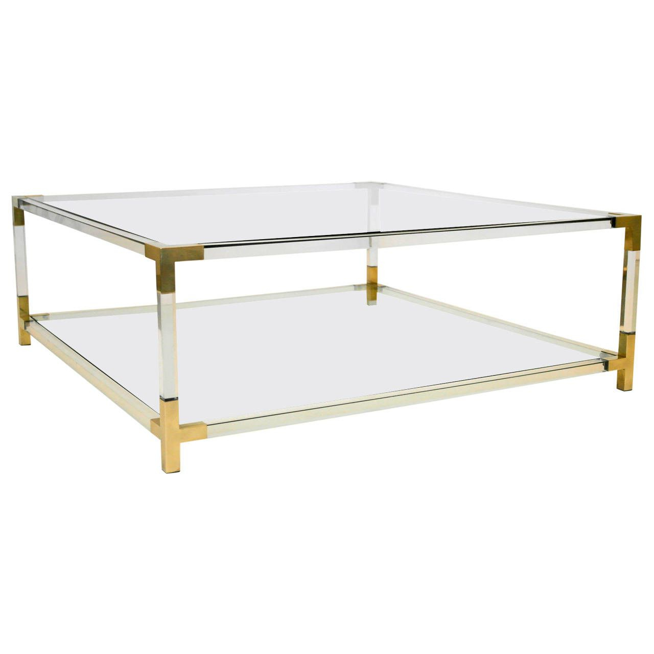 Maison Jansen Era Lucite And Brass Box Coffee Table | Lucite/brass For Era Glass Console Tables (View 17 of 20)