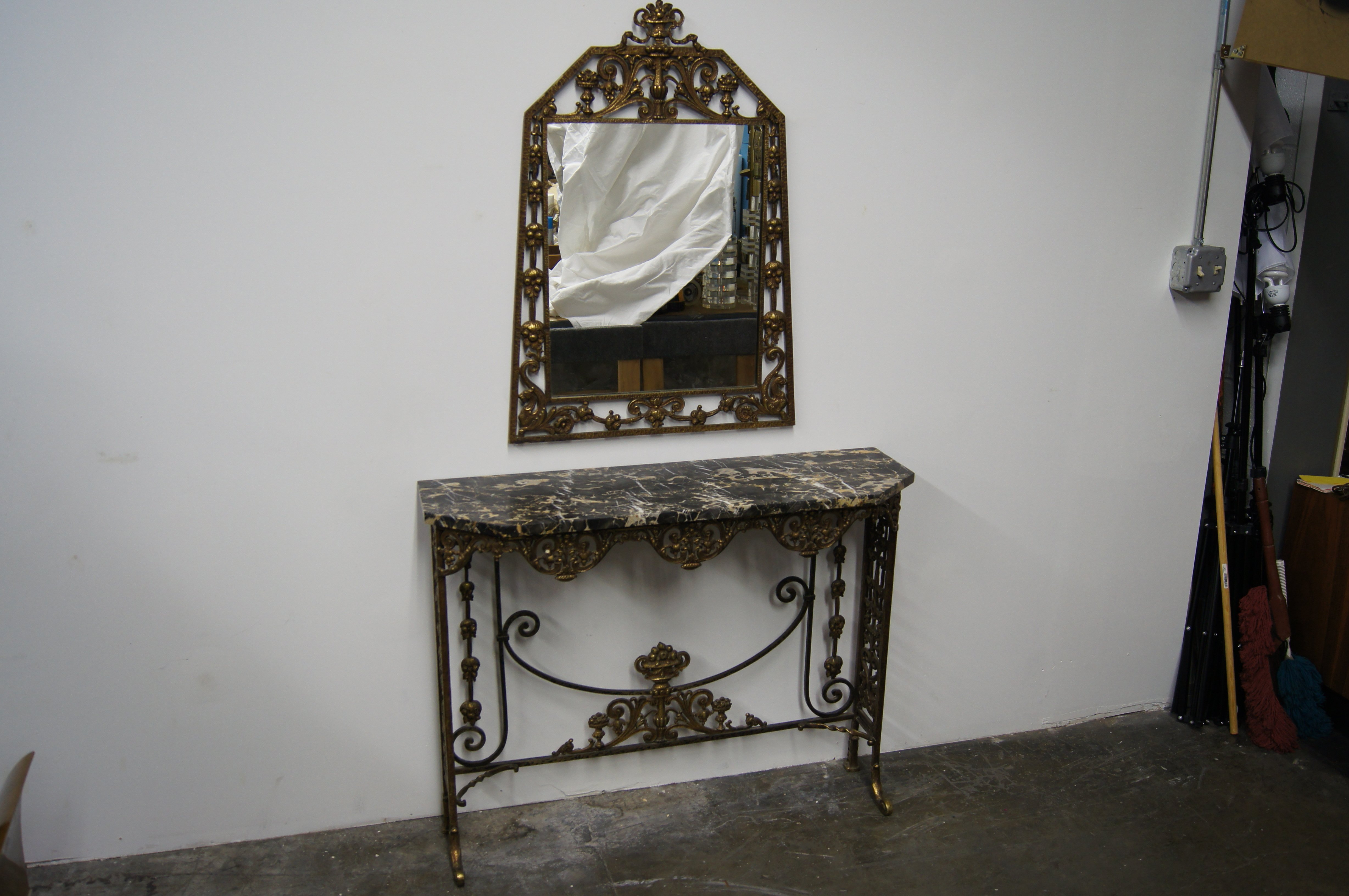 Marble And Bronzed Cast Iron Console Table With Mirroroscar Bach For Oscar 60 Inch Console Tables (View 8 of 20)