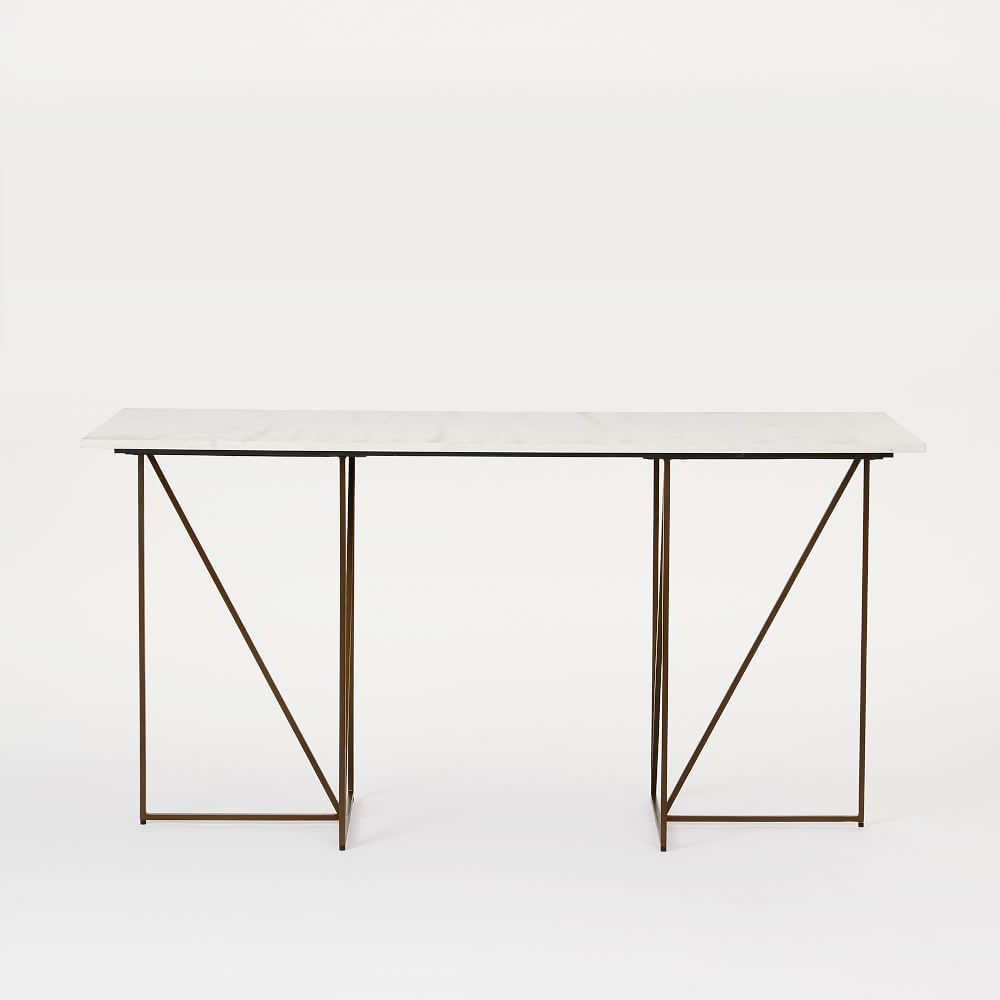 Marble + Brass Geo Desk | Furnish + Fill | Pinterest | Geo, Marbles With Parsons White Marble Top & Brass Base 48x16 Console Tables (View 7 of 20)