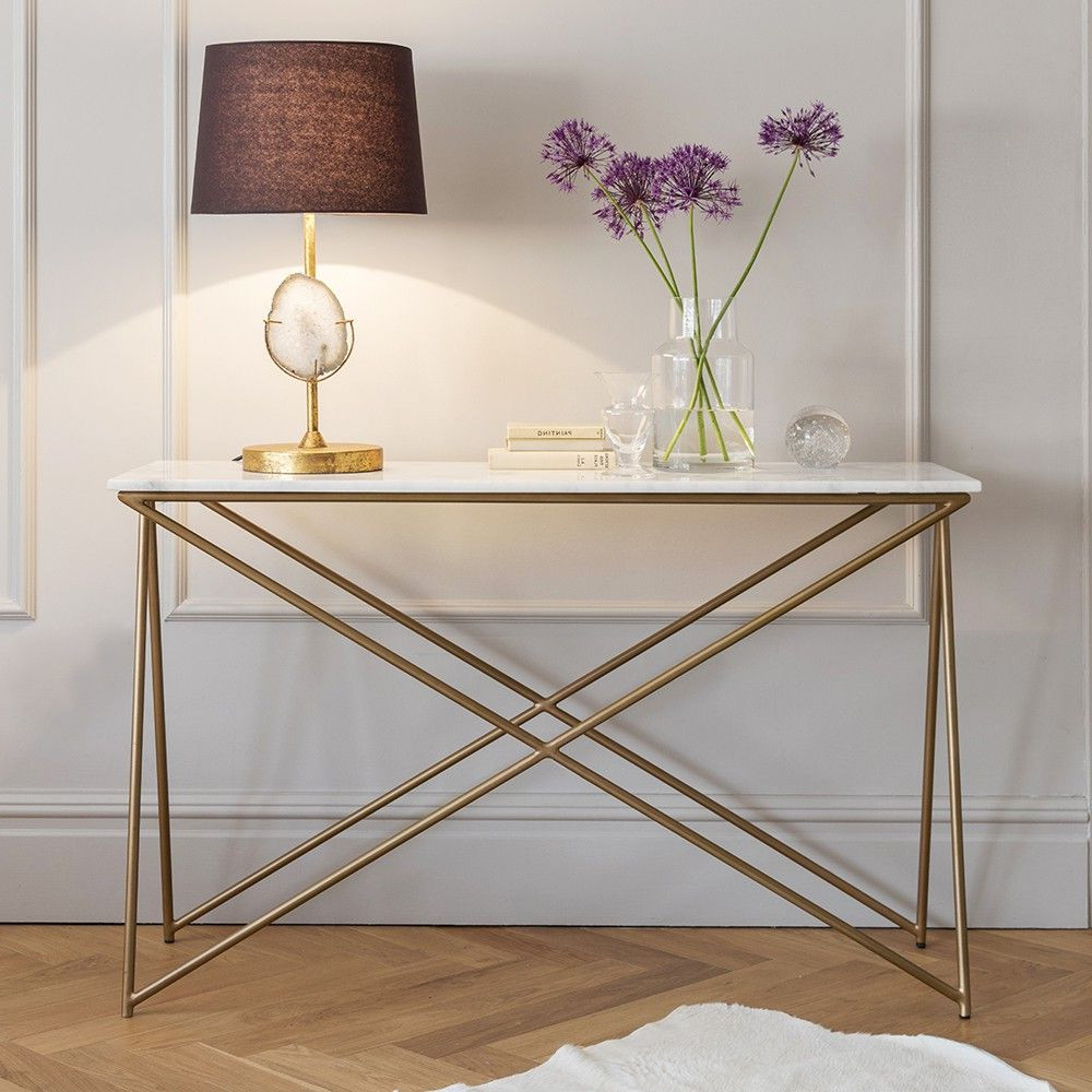 Marble Top Sofa Table – Sofa Ideas Within Parsons White Marble Top & Brass Base 48x16 Console Tables (View 11 of 20)
