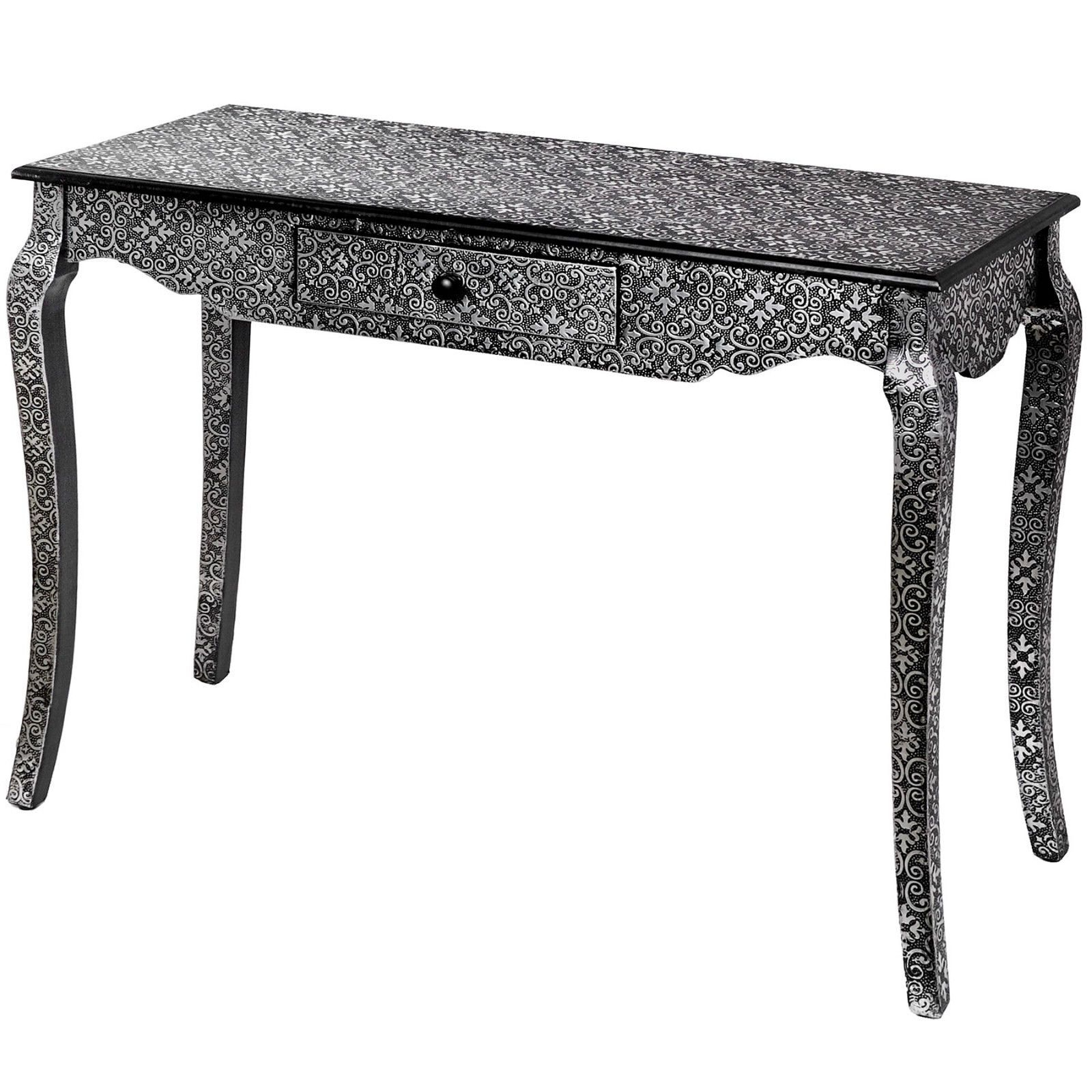 Marrakech Moroccan Style Carved Black Silver Wood Dressing Pedestal Intended For Black And White Inlay Console Tables (View 17 of 20)