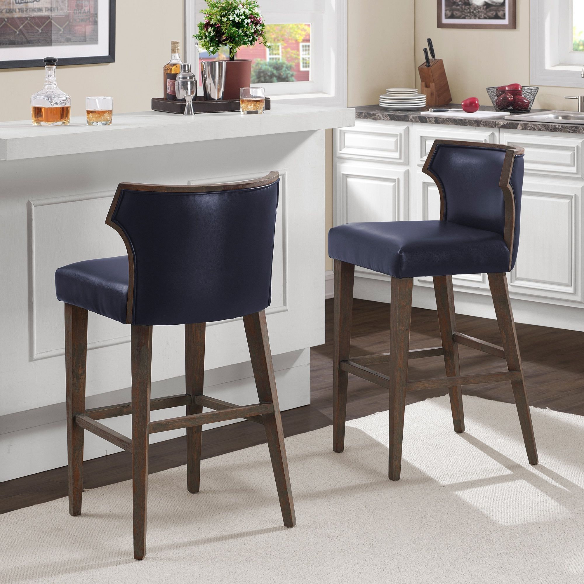 Marvin Navy Bonded Bar Stool, Blue (bonded Leather) | Products | Bar Throughout Marvin Rustic Natural 60 Inch Tv Stands (View 13 of 20)