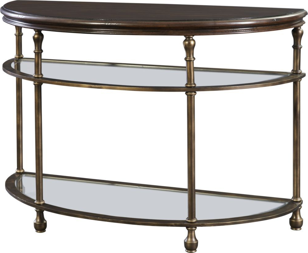 Metal Accent Demi Lune Find Out About This And Other Well Crafted Inside Parsons Clear Glass Top & Brass Base 48x16 Console Tables (View 15 of 20)