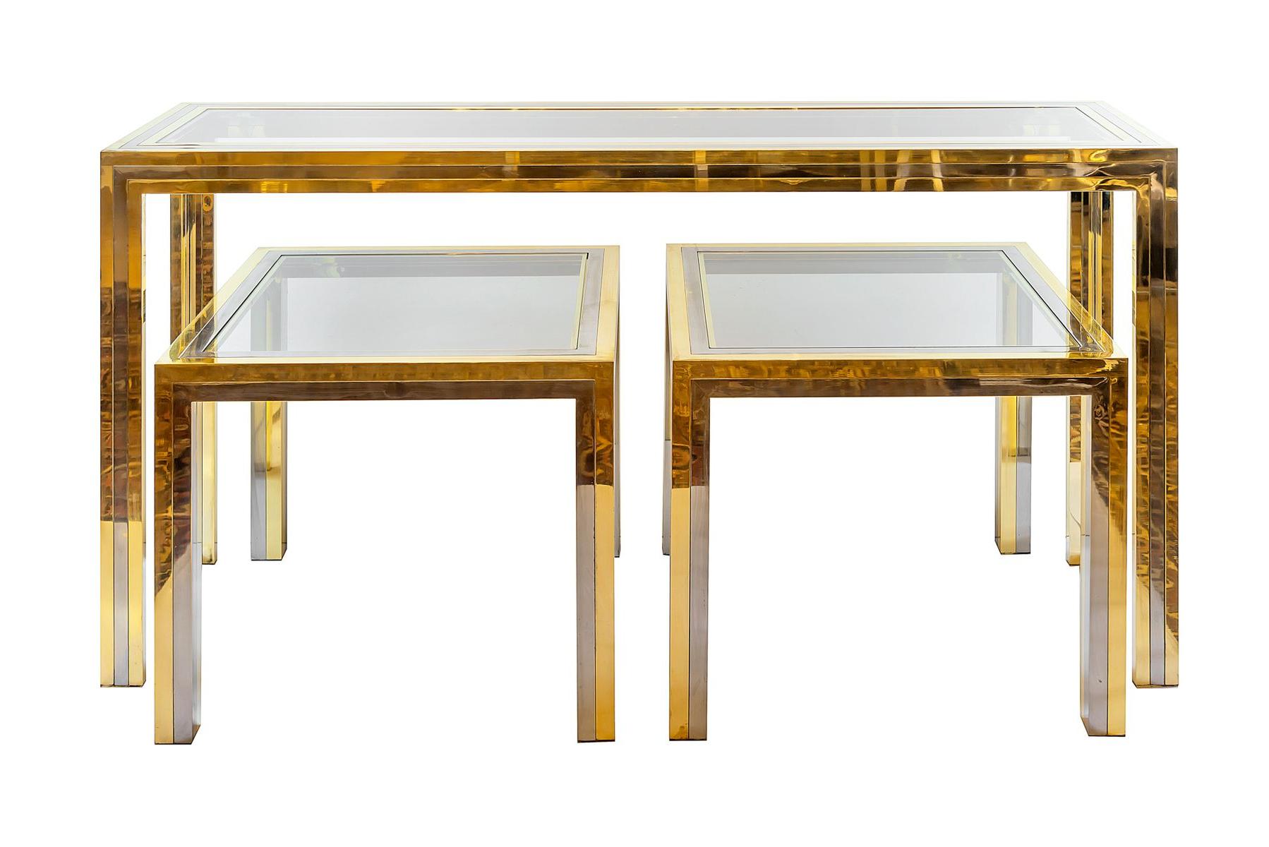Mid Century Italian Brass & Chrome Console & 2 Side Tables, 1960s Regarding Era Limestone Console Tables (View 14 of 20)