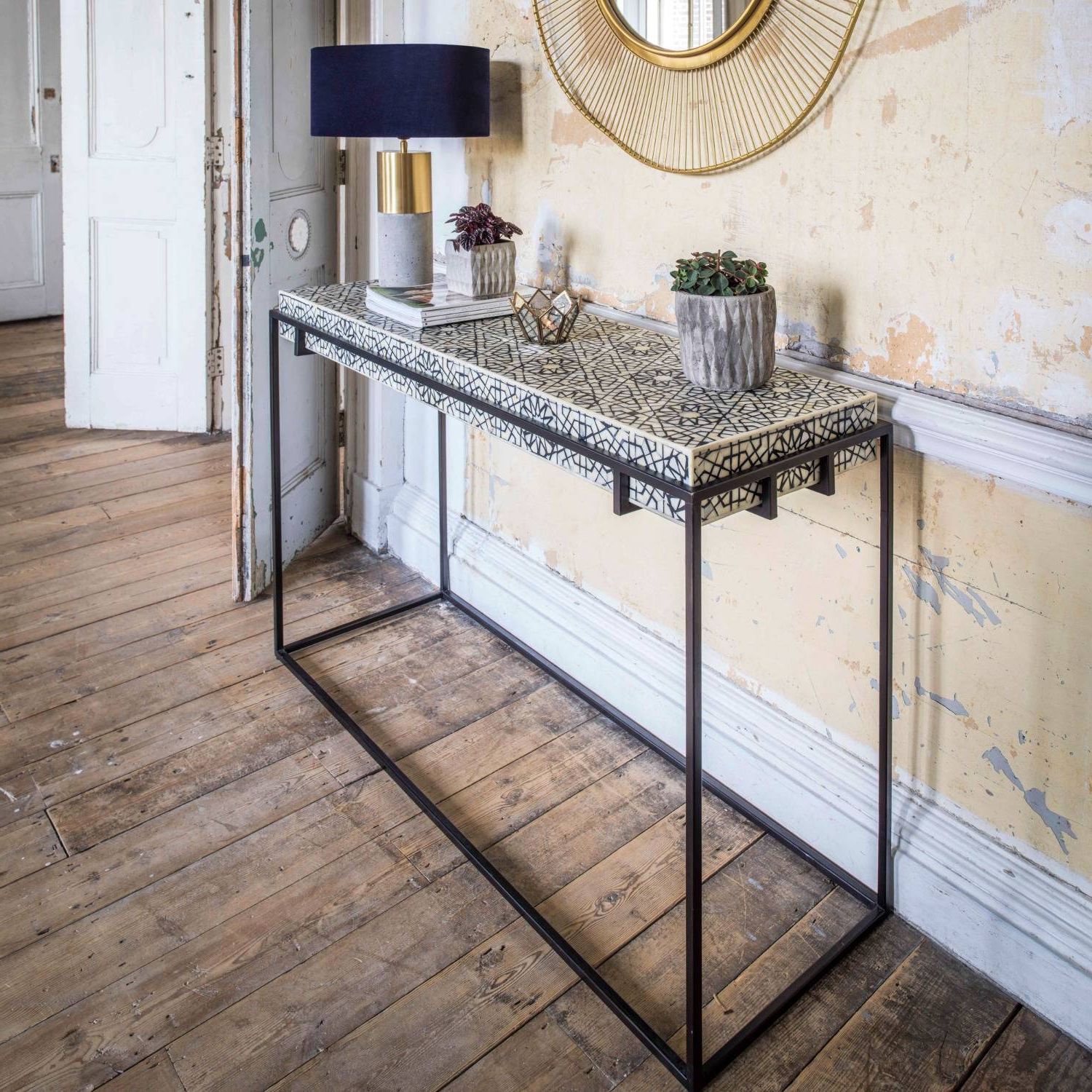 Miles Black And White Bone Inlay Console Table | Graham & Green For Black And White Inlay Console Tables (View 15 of 20)