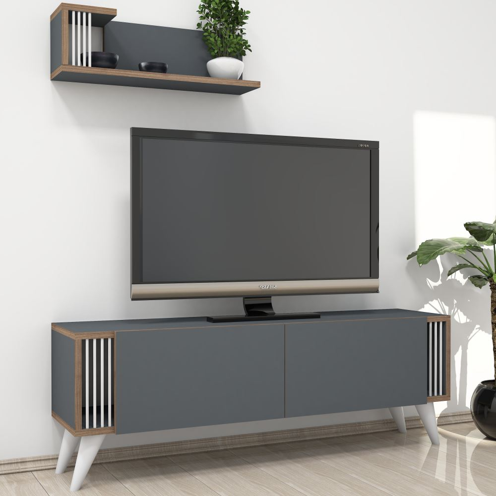 Minar Negro Tv Ünitesi Antrasit | Tekzen With Cato 60 Inch Tv Stands (View 15 of 20)