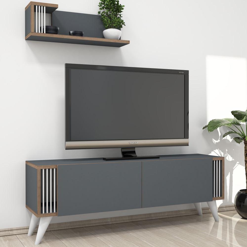 Minar Negro Tv Ünitesi Antrasit | Tekzen With Cato 60 Inch Tv Stands (View 2 of 20)