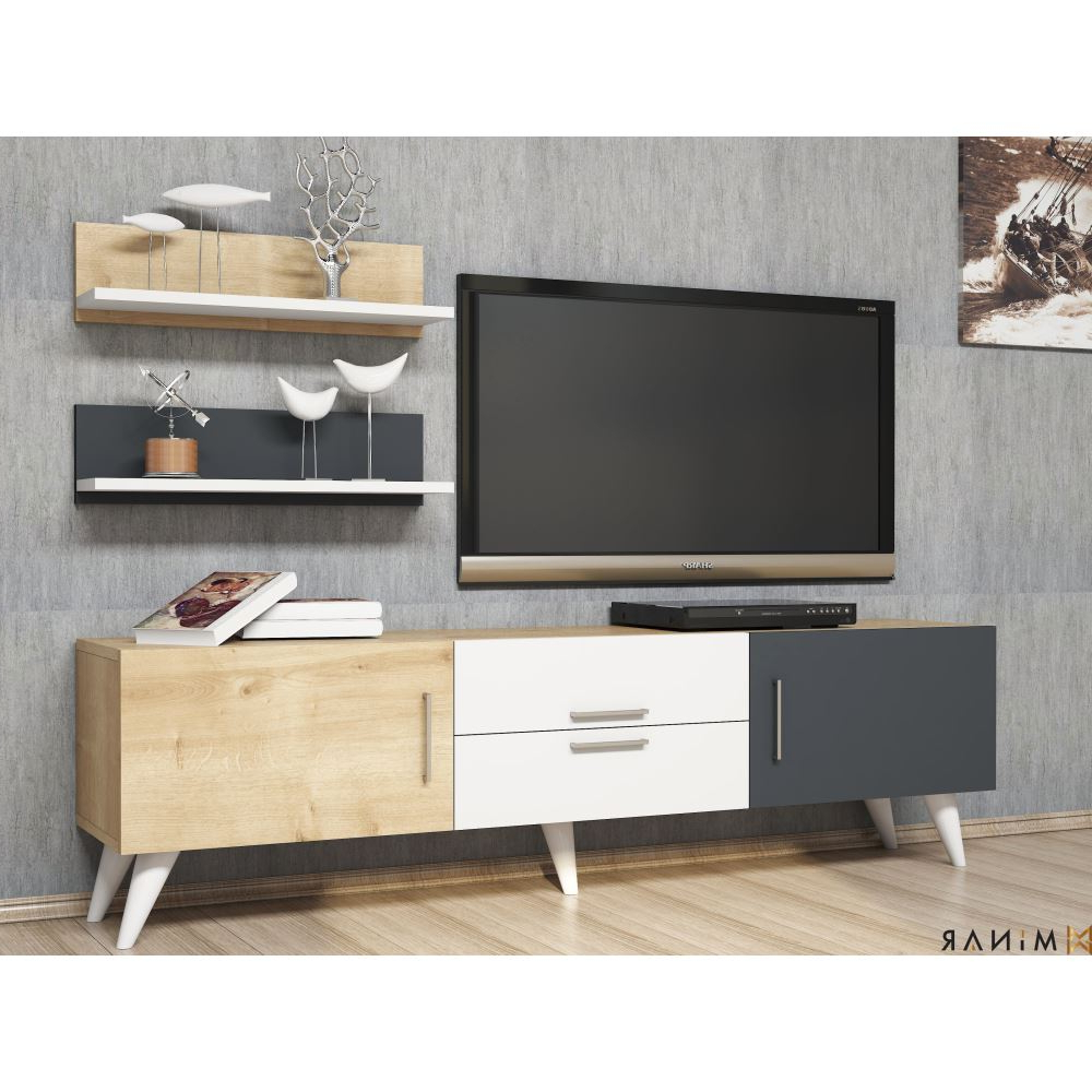 Minar Only Tv Ünitesi Beyaz Safir Antrasit | Tekzen In Cato 60 Inch Tv Stands (Gallery 15 of 20)