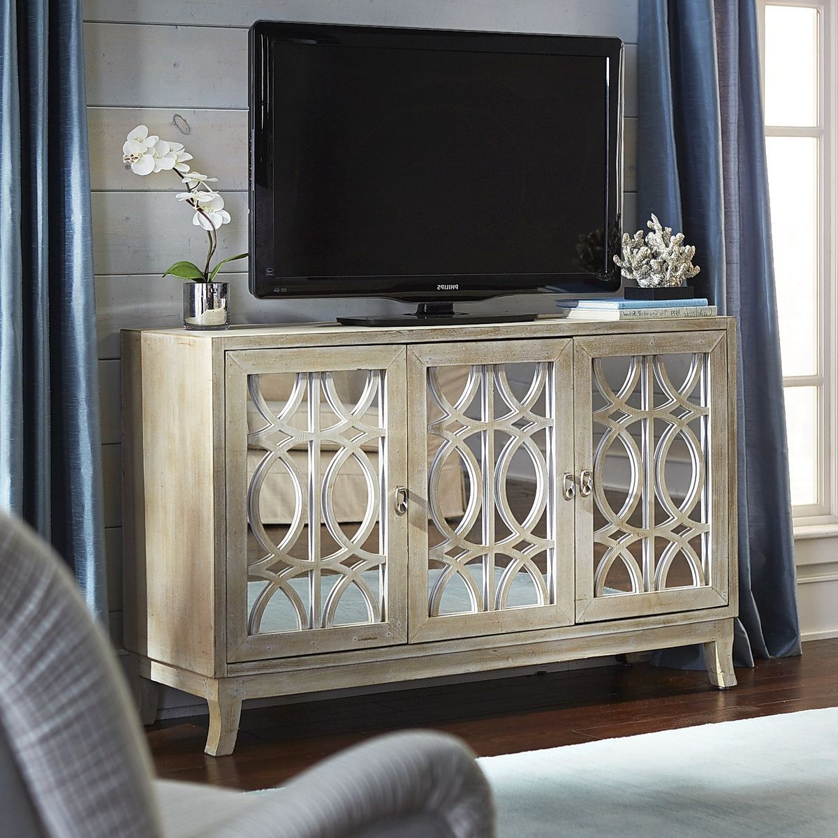"Mirella Mirrored Natural 54"" Tv Stand 