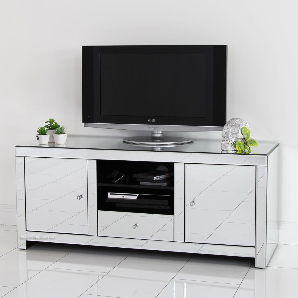 Mirrored Tv Stand Glass Cabinet Contemporary Decor Vintage Unit Pertaining To Willa 80 Inch Tv Stands (View 11 of 20)