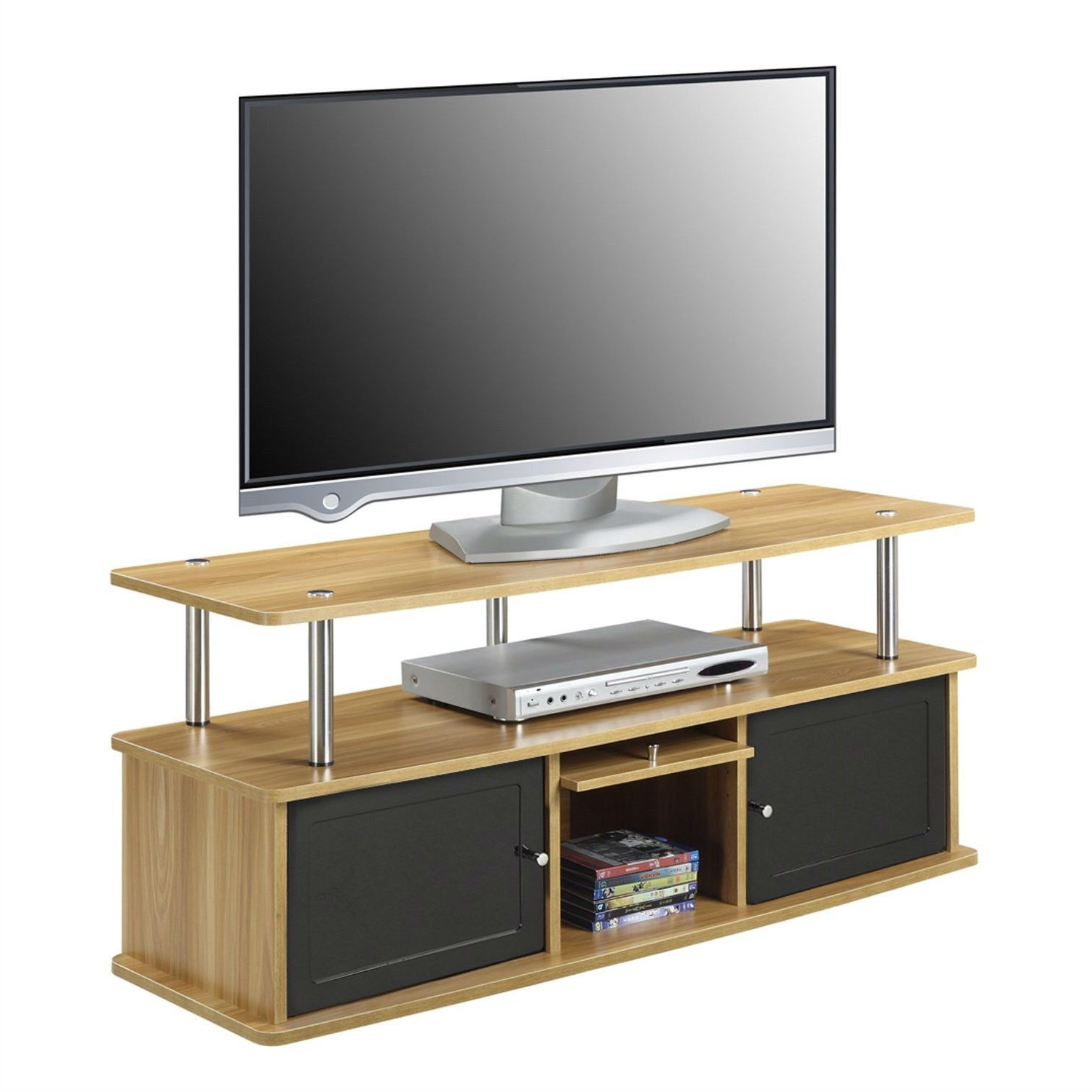 Modern 50 Inch Tv Stand In Light Oak / Black Wood Finish | Products With Regard To Rowan 64 Inch Tv Stands (View 17 of 20)