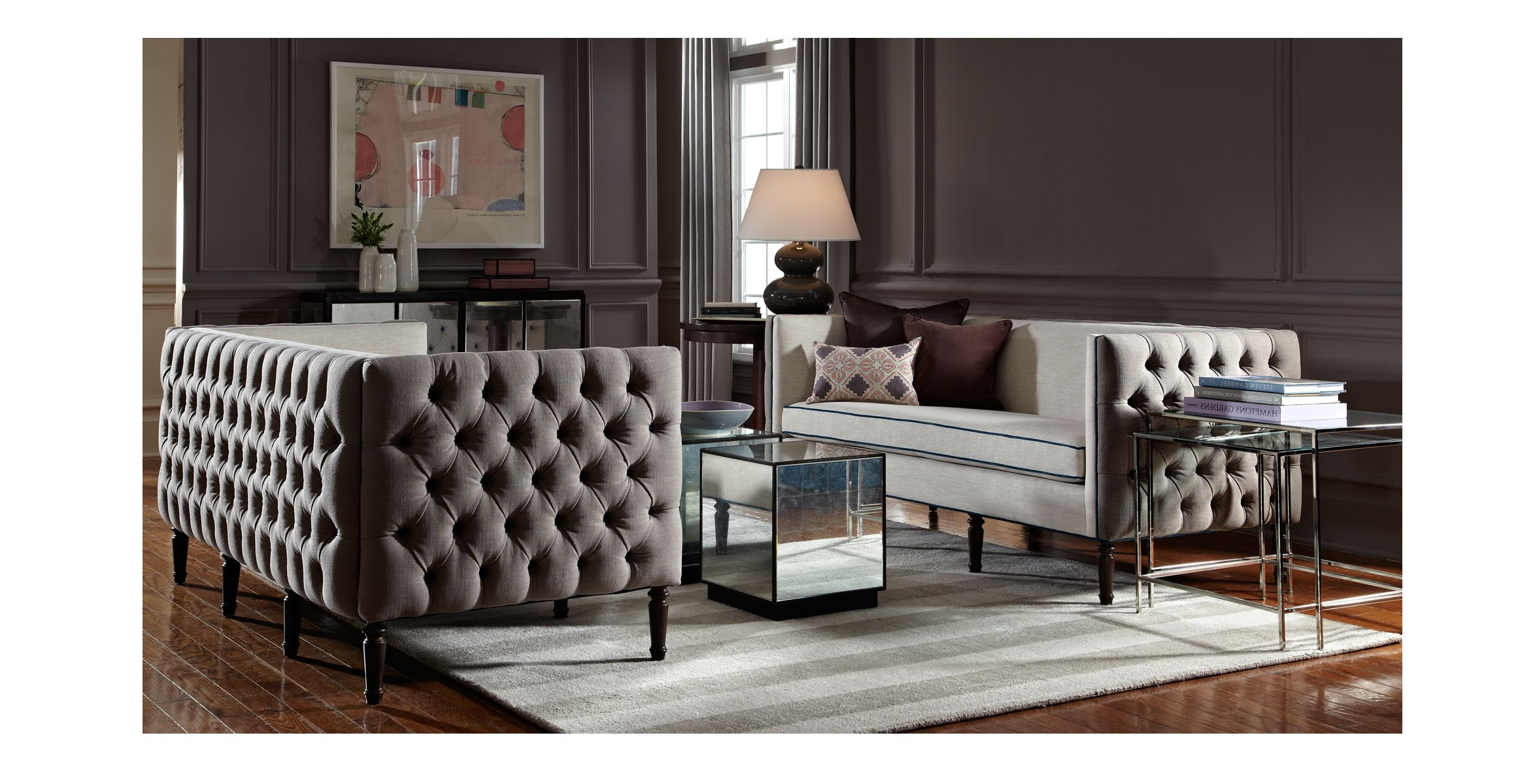 Modern Tufted Sofa – Google Search | Turn Of The Century Moderne Intended For Parsons Travertine Top & Brass Base 48x16 Console Tables (View 15 of 20)