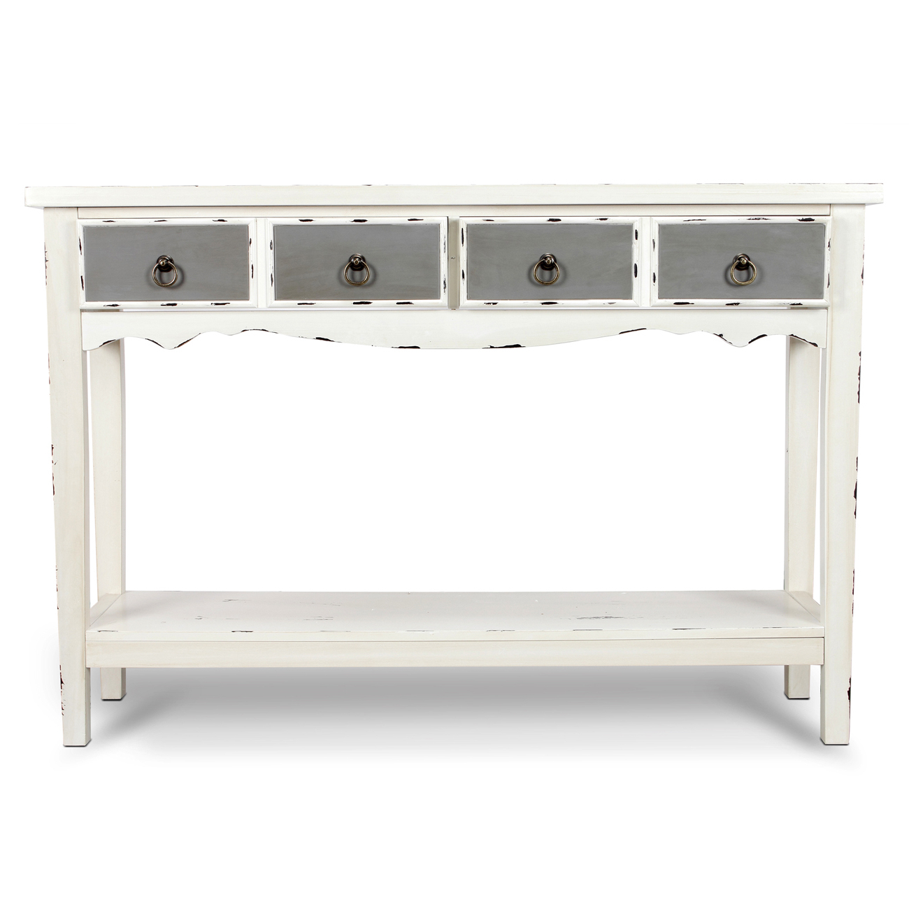 Modern Two Tone – Two Drawer Distressed Console Entryway Table With Regard To Antique White Distressed Console Tables (View 14 of 20)