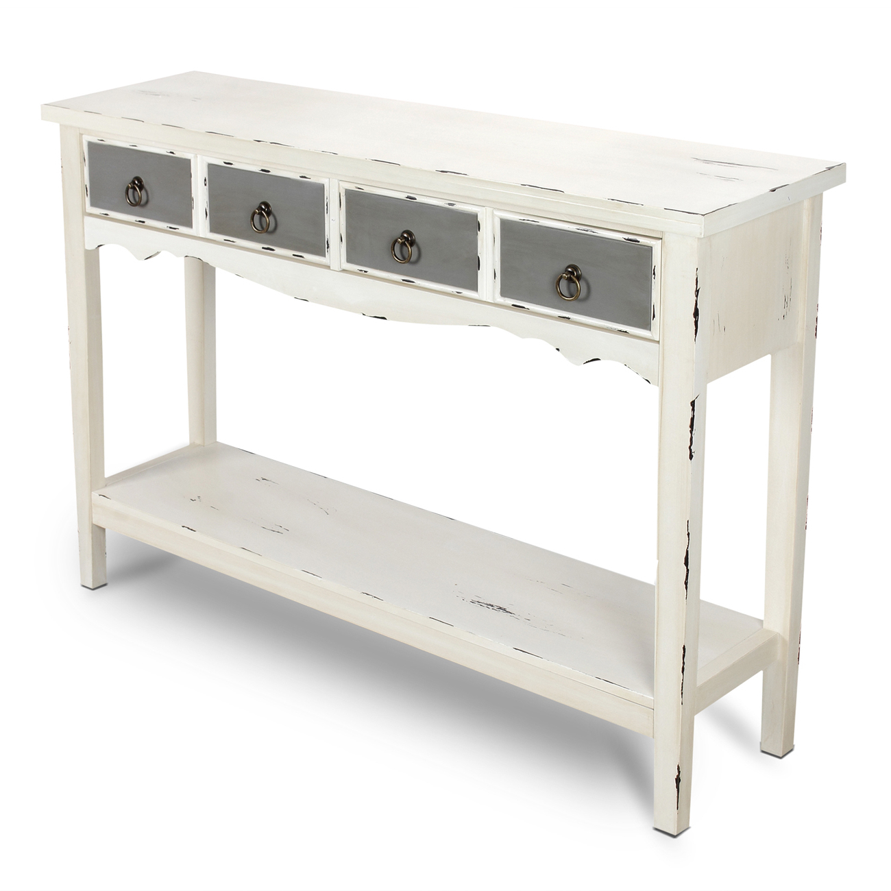 Modern Two Tone – Two Drawer Distressed Console Entryway Table Within Antique White Distressed Console Tables (Gallery 17 of 20)