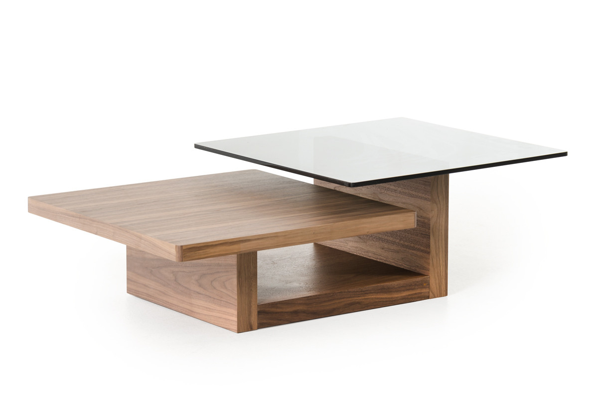 Modrest Echelon Mid Century Walnut And Smoked Glass Coffee Table With Regard To Echelon Console Tables (View 14 of 20)