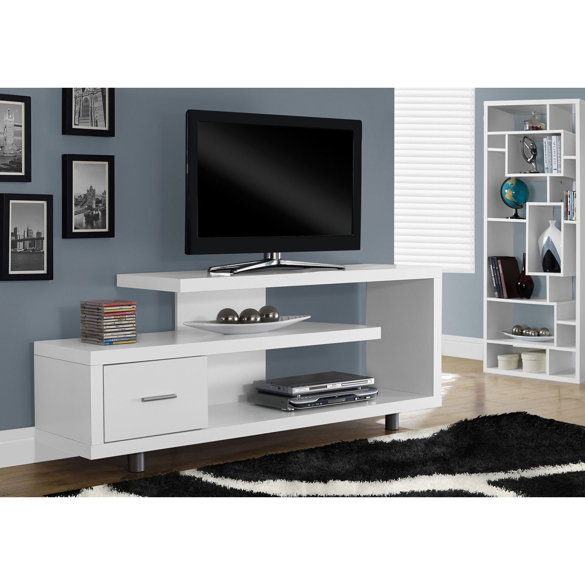 "Monarch Tv Stand White With 1 Drawer For Tvs Up To 47""l – Walmart For Maddy 50 Inch Tv Stands (View 12 of 20)"