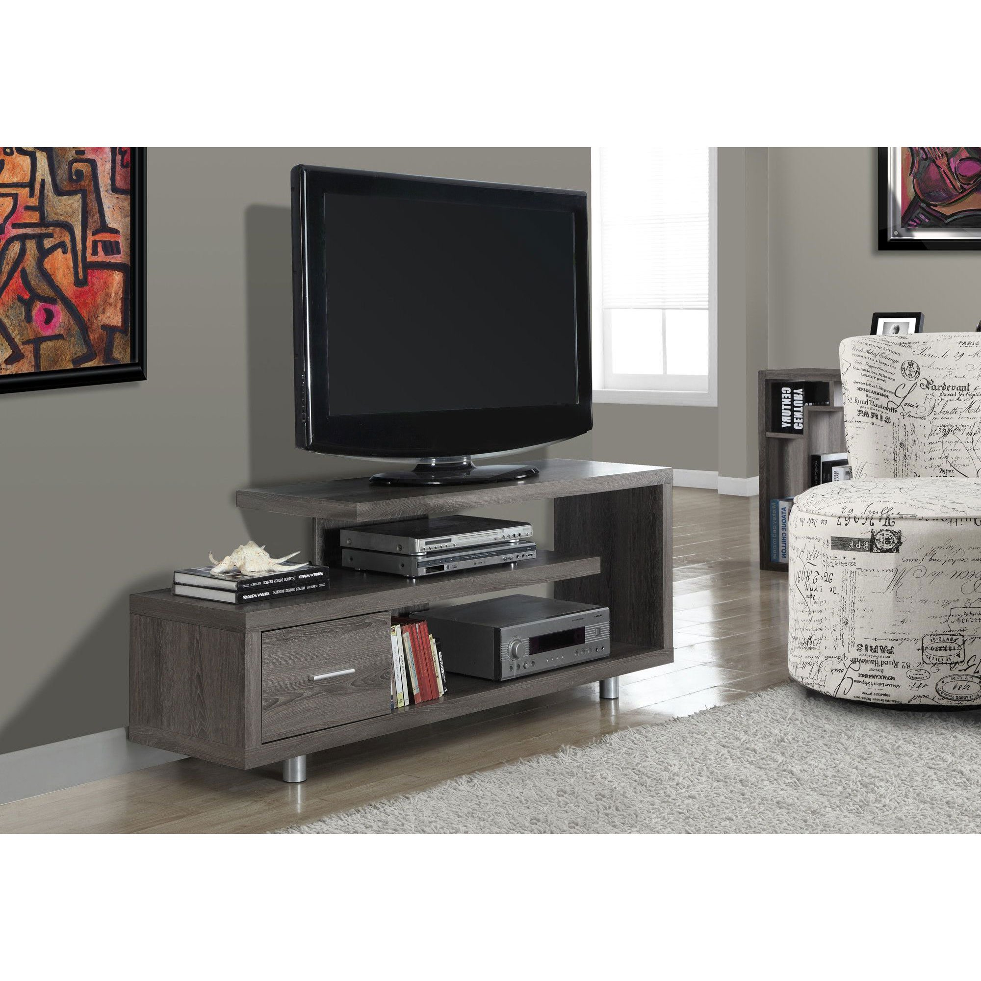 """Monarch Tv Stand White With 1 Drawer For Tvs Up To 47""""l – Walmart For Maddy 60 Inch Tv Stands (View 7 of 20)"""