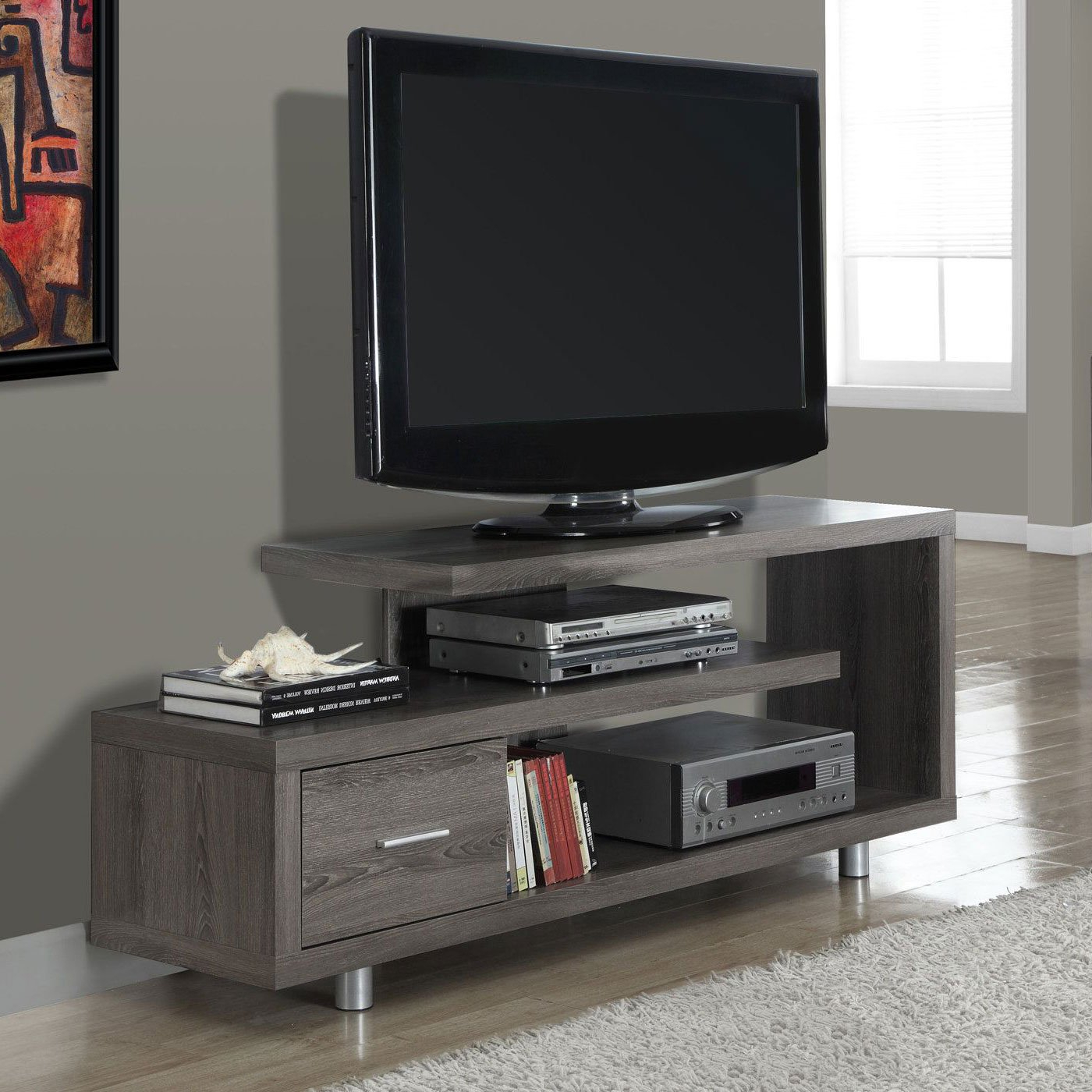 "Monarch Tv Stand White With 1 Drawer For Tvs Up To 47""l – Walmart Inside Maddy 50 Inch Tv Stands (View 12 of 20)"