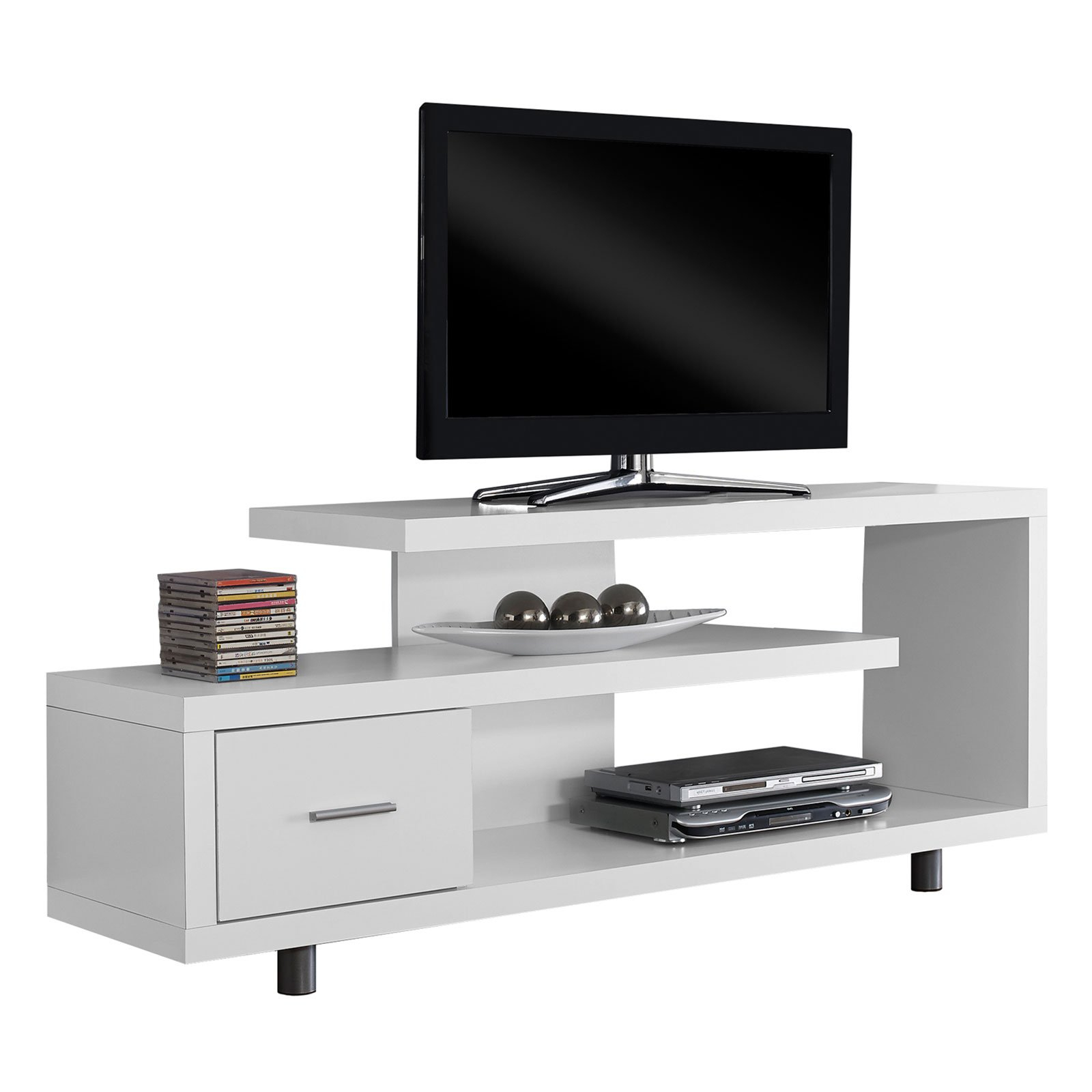 """Monarch Tv Stand White With 1 Drawer For Tvs Up To 47""""l – Walmart Regarding Maddy 60 Inch Tv Stands (View 4 of 20)"""