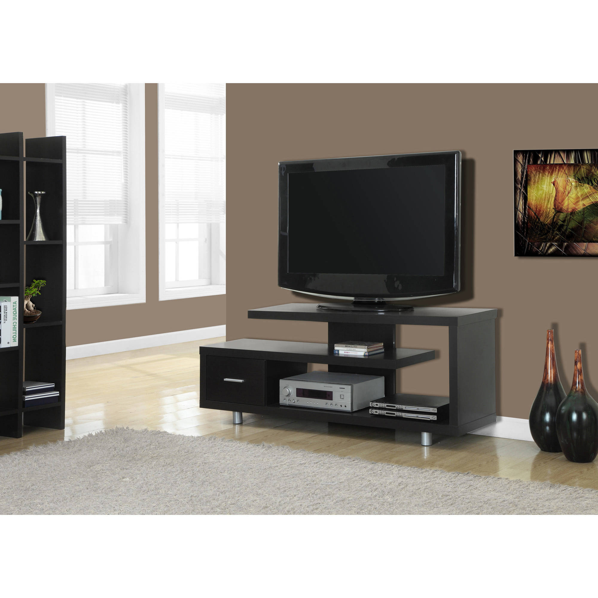 """Monarch Tv Stand White With 1 Drawer For Tvs Up To 47""""l – Walmart Throughout Maddy 60 Inch Tv Stands (View 13 of 20)"""