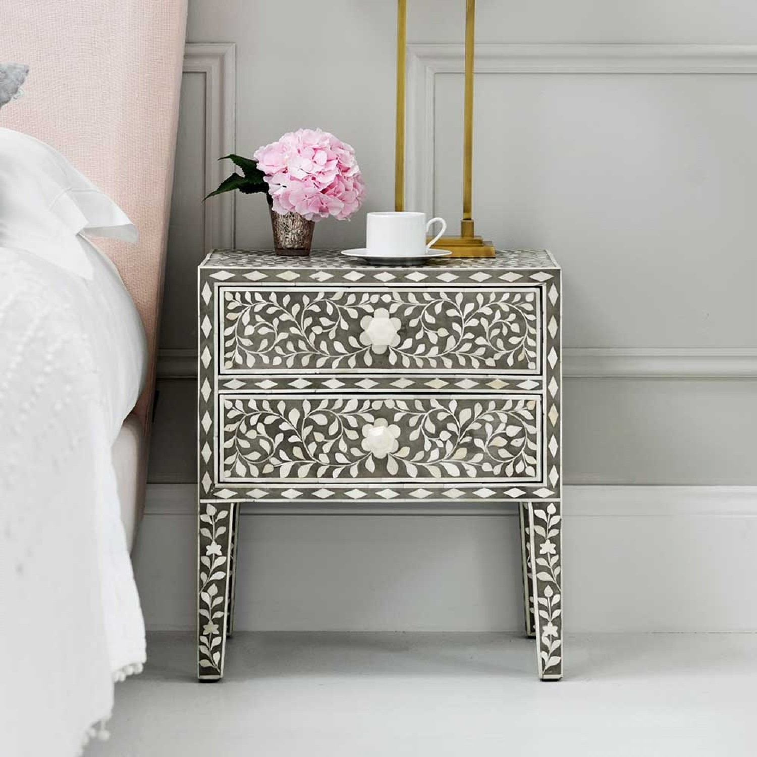 Mother Pearl Inlay Furniture Bone Tray Black Metal Nightstand Inside Black And White Inlay Console Tables (View 20 of 20)