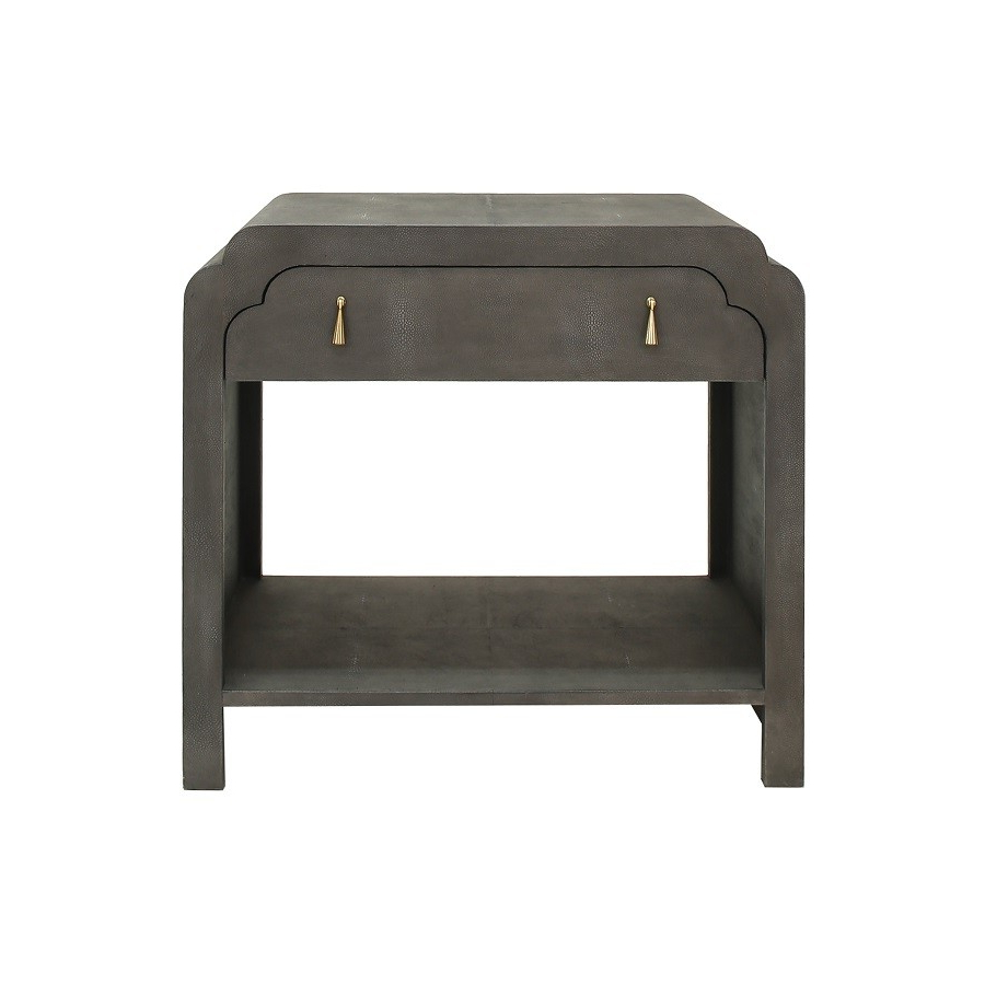 Nancy Dark Grey Shagreen Scalloped Bedside Table | Shop Now Inside Grey Shagreen Media Console Tables (View 13 of 20)