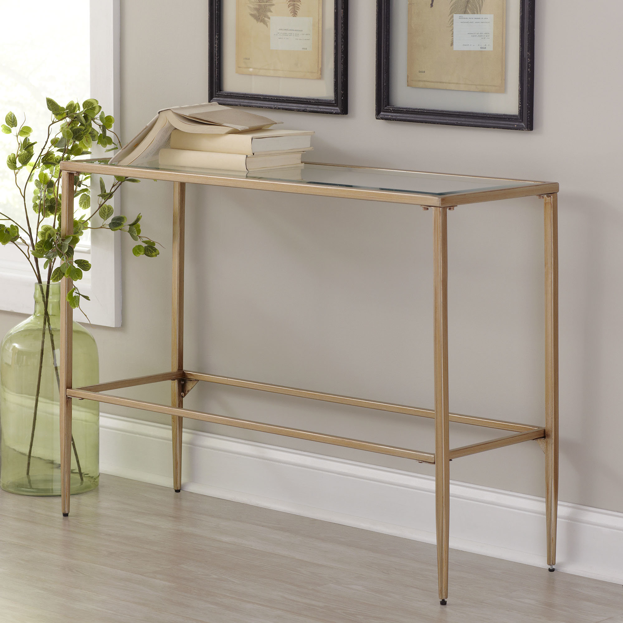 Narrow Gold Console Table | Wayfair Throughout Natural Wood Mirrored Media Console Tables (View 12 of 20)