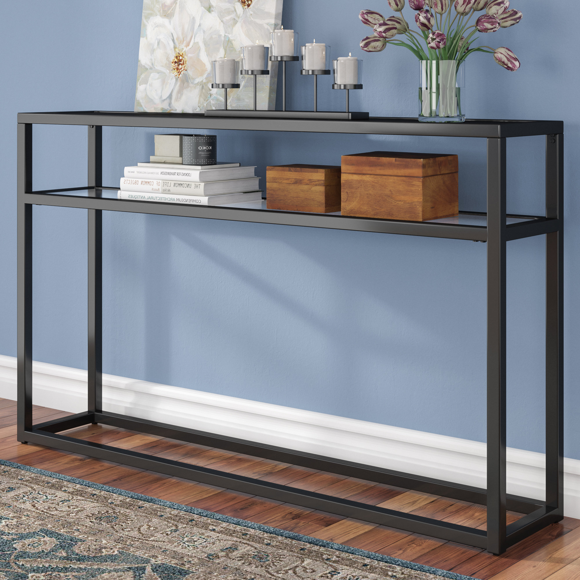 Narrow Low Console Table | Wayfair Inside Layered Wood Small Square Console Tables (View 6 of 20)
